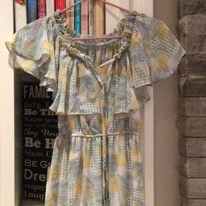 Off shoulder tiered summer dress in yellow/green